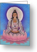 Feminine Greeting Cards - Kuan Yin Greeting Card by Sue Halstenberg