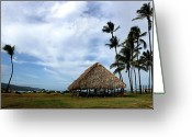 Island Cultural Art Greeting Cards - Kukulu Hale Kahului Maui Hawaii Panorama Greeting Card by Sharon Mau