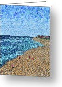Carolina Painting Greeting Cards - Kure Beach - A View from the Pier Greeting Card by Micah Mullen