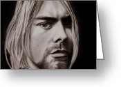 Nirvana Mixed Media Greeting Cards - Kurt Cobain Greeting Card by Michael Mestas