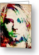 Musicians Digital Art Greeting Cards - Kurt Cobain Urban Watercolor Greeting Card by Michael Tompsett
