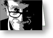 Vonnegut Greeting Cards - Kurt Vonnegut Greeting Card by Adam Winnie