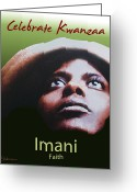 African Heritage Greeting Cards - Kwanzaa Imani Greeting Card by Shaboo Prints