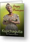 Kwanzaa Greeting Cards - Kwanzaa Kujichagulia Greeting Card by Shaboo Prints