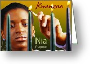 African Heritage Greeting Cards - Kwanzaa Nia Greeting Card by Shaboo Prints