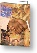 Kwanzaa Greeting Cards - Kwanzaa Ujamaa Greeting Card by Shaboo Prints
