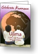 African Heritage Greeting Cards - Kwanzaa Ujima Greeting Card by Shaboo Prints