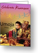 Kwanzaa Greeting Cards - Kwanzaa Umoja Greeting Card by Shaboo Prints