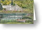 Prints Pastels Greeting Cards - Kylemore Abbey Connemara Galway Greeting Card by Vanda Luddy