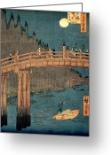 Japanese Greeting Cards - Kyoto bridge by moonlight Greeting Card by Hiroshige