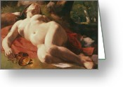 Nudes Greeting Cards - La Bacchante Greeting Card by Gustave Courbet