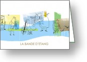 Children Music Greeting Cards - La Bande DEtang Greeting Card by Sean Hagan