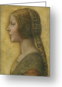 Dress Greeting Cards - La Bella Principessa - 15th Century Greeting Card by Leonardo da Vinci