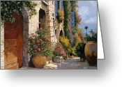 Shadow Painting Greeting Cards - La Bella Strada Greeting Card by Guido Borelli