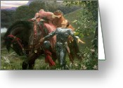 Lovers Embrace Greeting Cards - La Belle Dame Sans Merci Greeting Card by Sir Frank Dicksee
