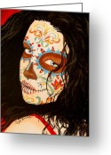 Day Of The Dead Greeting Cards - La Belleza en el Viento Greeting Card by Al  Molina