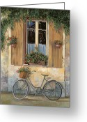 Street Scene Greeting Cards - La Bici Greeting Card by Guido Borelli