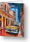 Buildings Painting Greeting Cards - La Bodeguita Greeting Card by Maria Arango
