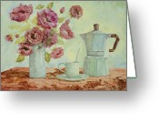 Pot Greeting Cards - La Caffettiera E I Fiori Amaranto Greeting Card by Guido Borelli