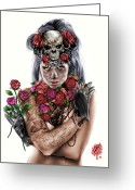 Ink Greeting Cards - La Calavera Catrina Greeting Card by Pete Tapang