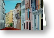 Buildings Painting Greeting Cards - La Calle Greeting Card by Maria Arango