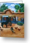 Burro Greeting Cards - La Cantina Greeting Card by Karon Melillo DeVega