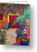 Tropical Beach Painting Greeting Cards - La Cantina Greeting Card by Patti Schermerhorn