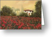Landscape Greeting Cards - La casa e i papaveri Greeting Card by Guido Borelli