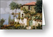 Yellow Greeting Cards - La Casa Giallo-verde Greeting Card by Guido Borelli