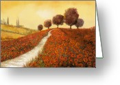 Poppy Greeting Cards - La Collina Dei Papaveri Greeting Card by Guido Borelli