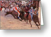 Race Greeting Cards - La Corsa Del Palio Greeting Card by Guido Borelli