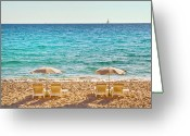 Umbrella Photo Greeting Cards - La Croisette Beach, Cannes, Cote Dazur, France Greeting Card by John Harper