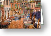 Orange Greeting Cards - La Curva Sul Canale Greeting Card by Guido Borelli