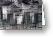 E Black Greeting Cards - La Defense PARIS Greeting Card by Melanie Viola