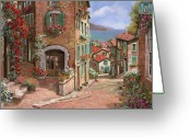 Vacation Greeting Cards - La Discesa Al Mare Greeting Card by Guido Borelli