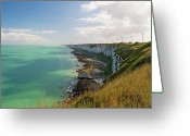 France Greeting Cards - La Falaise Et Les éoliennes Greeting Card by Harald Walker
