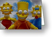 Hyper-realism Greeting Cards - La Famiglia Simpson Greeting Card by Tony Chimento