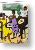 Champ De Mars Haiti Greeting Cards - La Famille Greeting Card by Nicole Jean-Louis
