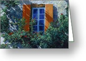 Shutter Greeting Cards - La Finestra E Le Ombre Greeting Card by Guido Borelli