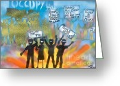99 Percent Greeting Cards - LA is..Occupied Greeting Card by Tony B Conscious