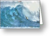 Surf Art La Jolla Digital Art Greeting Cards - La Jolla Big Surf Greeting Card by Russ Harris