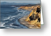 Blacks Greeting Cards - La Jolla Cliffs Over Blacks Greeting Card by Russ Harris