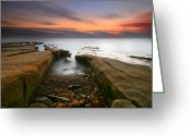 San Diego California Greeting Cards - La Jolla Reef Sunset 2 Greeting Card by Larry Marshall
