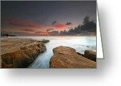 San Diego California Greeting Cards - La Jolla Reef Sunset 9 Greeting Card by Larry Marshall