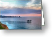 Tides Greeting Cards - La Jolla Scripps Pier Greeting Card by Russ Harris