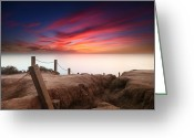 San Diego California Greeting Cards - La Jolla Sunset 2 Greeting Card by Larry Marshall