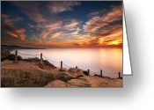 San Diego California Greeting Cards - La Jolla Sunset Greeting Card by Larry Marshall