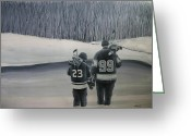 Minor Hockey Greeting Cards - La Kings in Black and White Greeting Card by Ron  Genest
