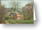 Pisarro Greeting Cards - La Maison Rose Greeting Card by Camille Pissarro