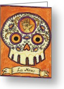 Fortune Teller Greeting Cards - La Mano Calavera Loteria Greeting Card by Maryann Luera